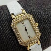 Zenith Ladies 18k   White Solid Gold Genuine Leather 20mm...