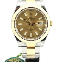 Rolex Date Just II Steel Yellow gold Champagne index 116333