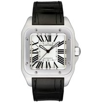 Cartier Santos 100 Large Steel  on Leather Automatic
