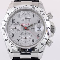 Tudor Prince Date Tiger Chronograph Silver Dial red Hand Steel