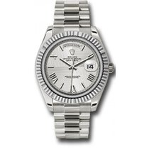 Rolex Day-Date 40 228239 18K White Gold 40MM Silver Quadrant...