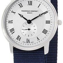 Frederique Constant Slimline Steel Mens Watch Quartz Nylon...