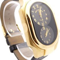 Philip Stein Teslar Large Dual Time Solid 18k Yellow Gold Watch