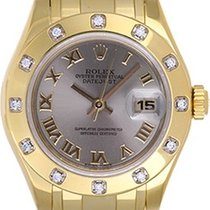 Rolex Ladies Masterpiece/Pearlmaster Gold Diamond Watch Roman...