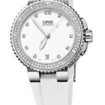 Oris Aquis Date Diamonds, Diamond Set, White Rubber Bracelet