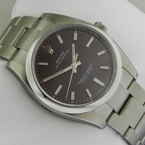 Rolex 114200 Oyster Perpetual Red Grape Dial Stainless Steel...