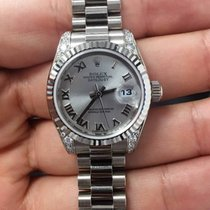 Rolex Lady-Datejust White Gold Silver Roman Dial 26mm