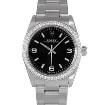 Rolex Oyster Perpetual Midsize Black Dial, Diamond Bezel, 67480