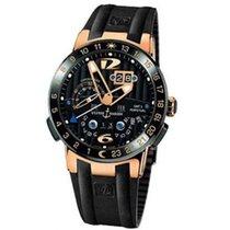 Ulysse Nardin Perpetual Calendar Rose Gold Black Band Watch
