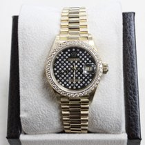 Rolex Ladies President Datejust 69138 Black  Diamond Dial ...