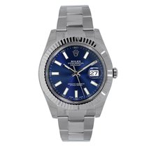 Rolex DATEJUST II 41mm 18K White Gold Bezel Silver Blue Arabic
