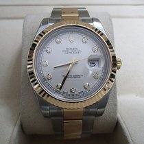 Rolex Datejust II SS/18K Yellow Gold/White Diamond Dial