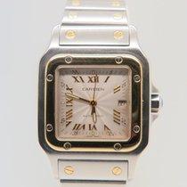 Cartier Santos Galbée 18k Gold Steel Guilloche Roman Dial...