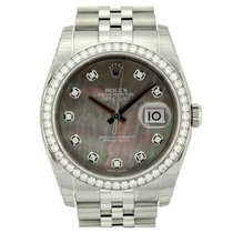 Rolex Datejust 36mm 116244 Black MOP Diamond Dial &...