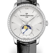 Girard Perregaux 1966 MOON PHASES Steel Dial Silver Strap...