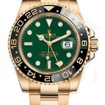 Rolex GMT Master II 18k Yellow Gold Green Index Dial 116718