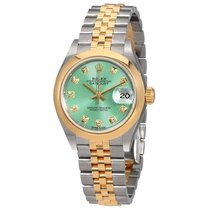 Rolex Lady Datejust 28 Mint Green Steel and 18kt Yellow Gold...