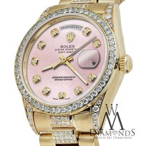 Rolex Presidential Day Date Metallic Pink Dial Diamond Watch...