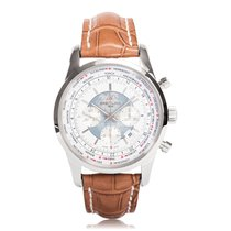 Breitling Transocean Chronograph Unitime Steel Mens Watch...