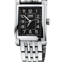 Oris Rectangular Date, Black Dial Steel Bracelet