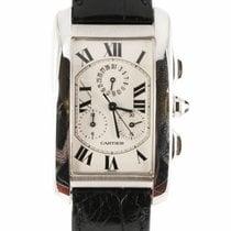 Cartier Tank Americaine Chrono 18k White gold Quartz Watch...