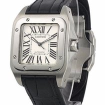 Cartier W20106X8 Santos 100 Midsize Automatic Men Black...