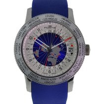 Fortis B-47 World Timer Gmt Stainless Steel Silver Blue Dial...