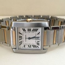 Cartier Tank Francaise Gold Steel Large Guilloche Dial (32 x...