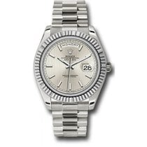 Rolex Day-Date 40 228239 18K White Gold 40MM Silver Stripe...