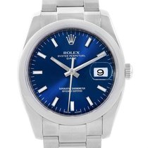 Rolex Date Stainless Steel Blue Baton Dial Mens Watch 115200