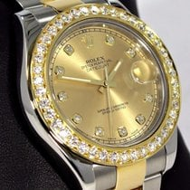 Rolex Datejust II 116333 41mm 18k Y Gold /ss 3.35ct Bezel Fact...
