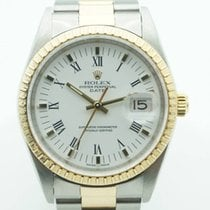 Rolex Oyster Perpetual Date Two Tone 34 Gold Stick White Dial