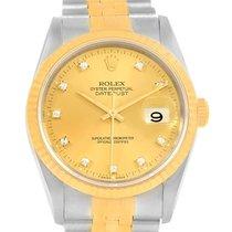 Rolex Datejust Steel Yellow Gold Champagne Diamond Dial Watch...