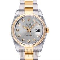 ロレックス (Rolex) Datejust Silver Steel/18k gold Dia Oyster Ø36mm...