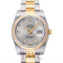 Rolex Datejust Silver Steel/18k gold Dia Oyster Ø36mm - 116233 G