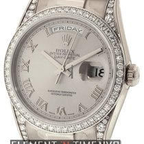 Rolex Day-Date President 18k White Gold Diamond Bezel And Lugs