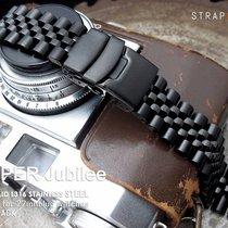 MiLTAT 22mm Super Jubilee Black Watch Band, Straight End