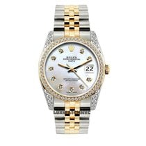 Rolex Date Unisex 34mm White Mother Of Pearl Dial Gold And...