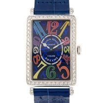 Franck Muller Long Island Stainless Steel With Diamonds Blue...