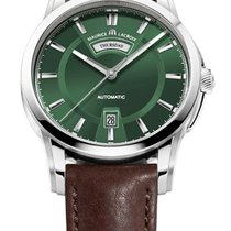 Maurice Lacroix Pontos Day/Date Green Dial, Brown Calfskin Strap