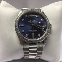 Rolex 18039 Daydate 18k Oro Blanco Bicel Con Diamantes