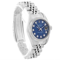 Rolex Datejust Ladies Steel White Gold Blue Sodalite Diamond...