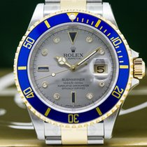 Rolex 16613 Submariner 16613 18K / SS Silver Serti Dial NEW...