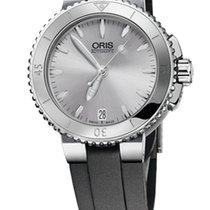 Oris Aquis Date 36, Ceramic Top, Silver Dial, Textile