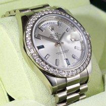Rolex Day-date II President 218349 18k W Gold Factory Diamond...
