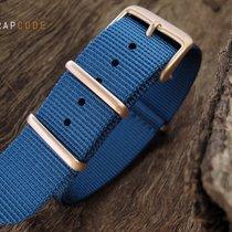 Strapcode G10 NATO Watch Strap, 260mm, IP Champagne, Blue