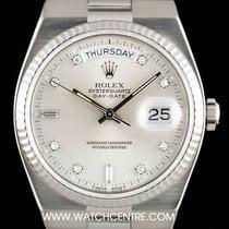 Rolex 18k W/G Silver Diamond Dial Oysterquartz Day-Date 19019