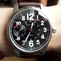 Hamilton KHAKI FIELD OFFICER MECHANICAL Black-Brown Leather...