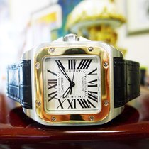 Cartier Santos 100 Stainless Steel Gold 33mm Automatic Watch...