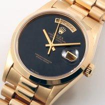 Rolex 18K YG President Factory Black Onyx 18038